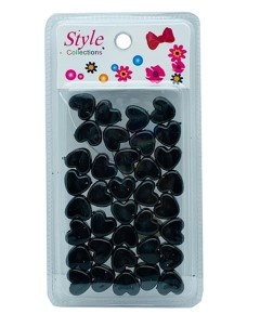 Style Collection Heart Shape Hair Beads BD003BLK