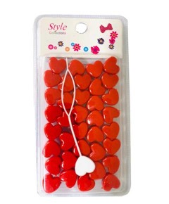 Style Collection Heart Shape Hair Beads BD003 RED