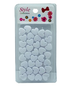 Style Collection Heart Shape Hair Beads BD003 White