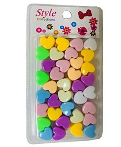 Style Collection Heart Shape Hair Beads BD003 Light Multi