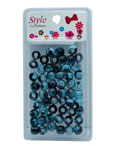 Style Collection Pattern Beads BD012 Black And Light Blue