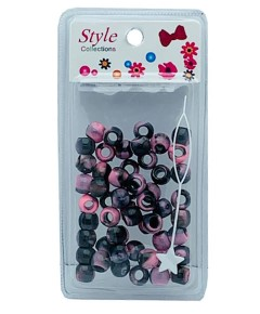 Style Collection Pattern Beads BD012 Black And Light Pink