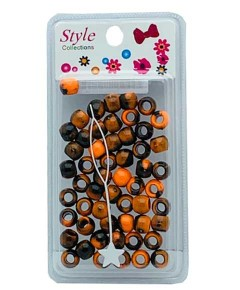 Style Collection Pattern Beads BD012 Black And Orange