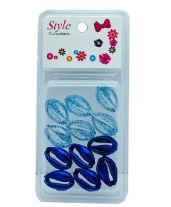 Style Collection 2 Tone Shell Beads BD015 Blue