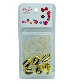 Style Collection 2 Tone Shell Beads BD015 Gold