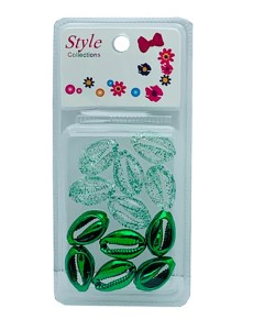 Style Collection 2 Tone Shell Beads BD015 Green