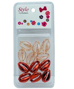 Style Collection 2 Tone Shell Beads BD015 RED