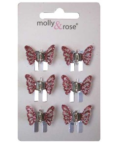 Glitter Butterfly Mini Clamps Assorted 4020