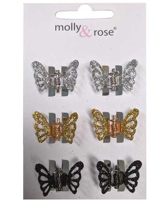 Glitter Butterfly Mini Clamps Assorted 7676