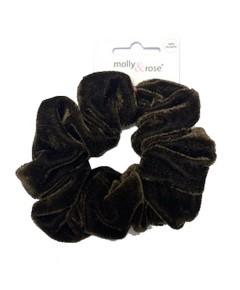 Velvet Finish Polyester Brown Scrunchie  7687