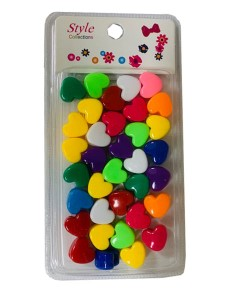 Style Collection Heart Shape Hair Beads BD003 Dark Multi